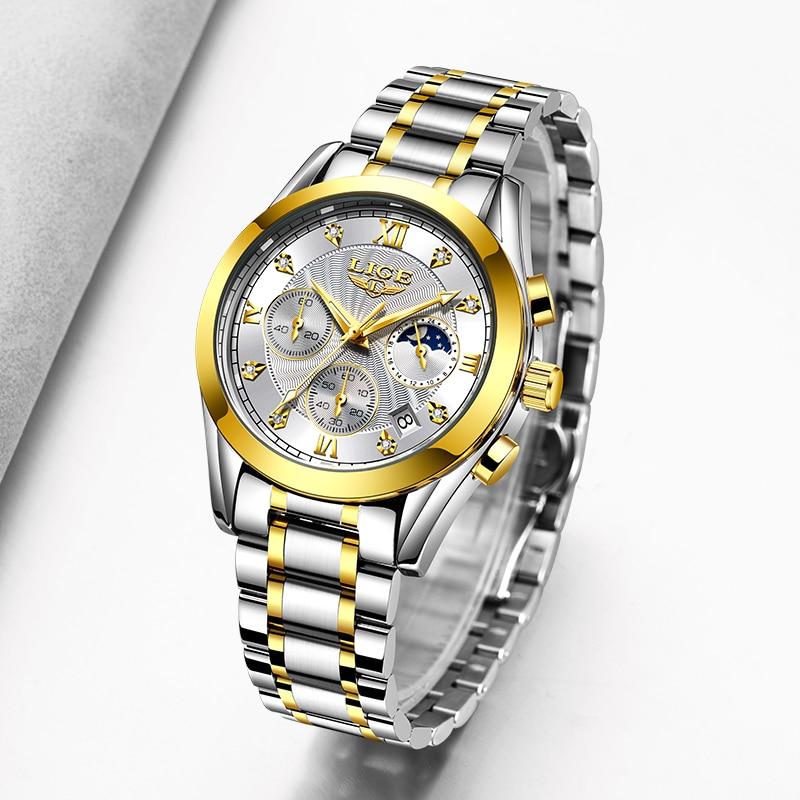 LIGE Fashion Women Watches Ladies Brand Luxury Stainless Steel Calendar Sport Quartz Watch Women Waterproof Watch Montre Femme enlarge