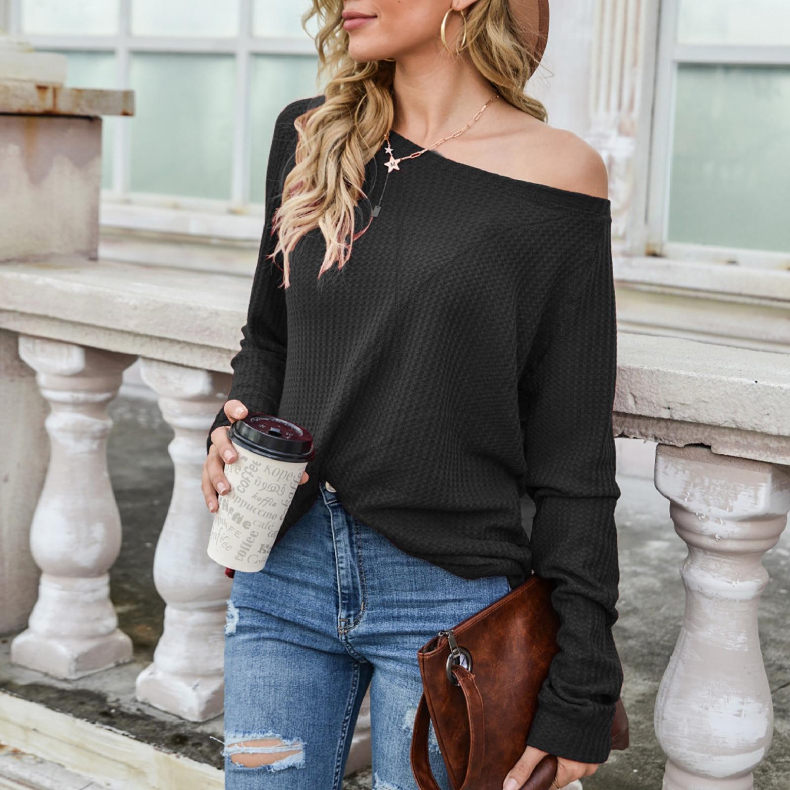 Camiseta de manga larga para mujer, blusa sexy sin tirantes con cuello...