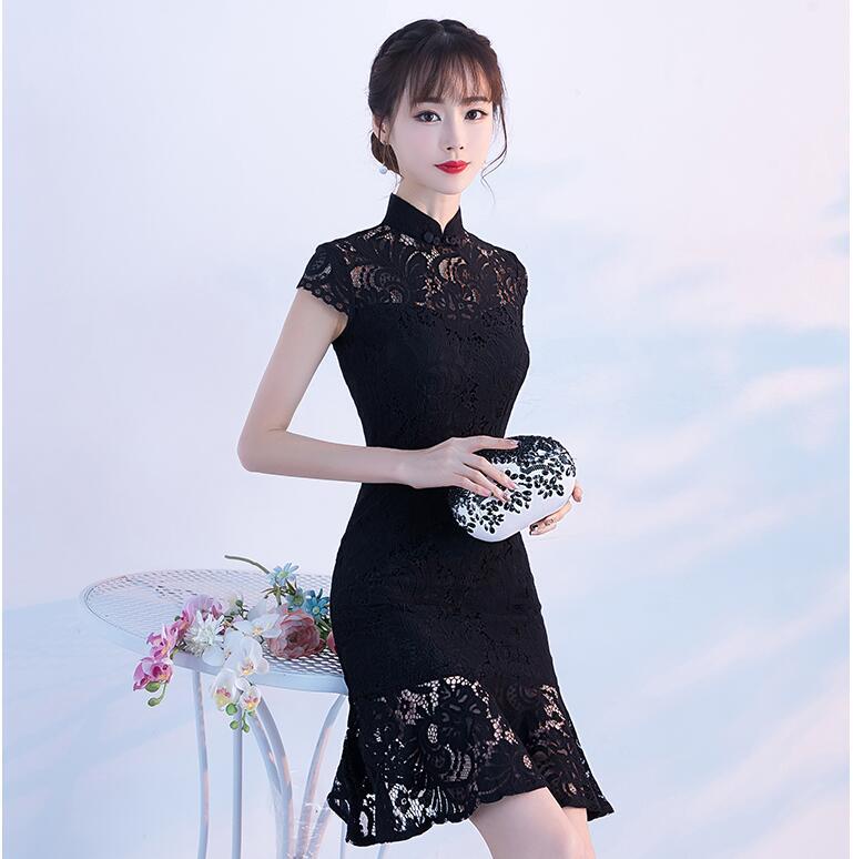 فستان صيني تقليدي طويل للنساء ، شيونغسام تشيباو ، فستان سهرة أنيق عتيق ، فستان زفاف ذيل السمكة ، دانتيل نحيف