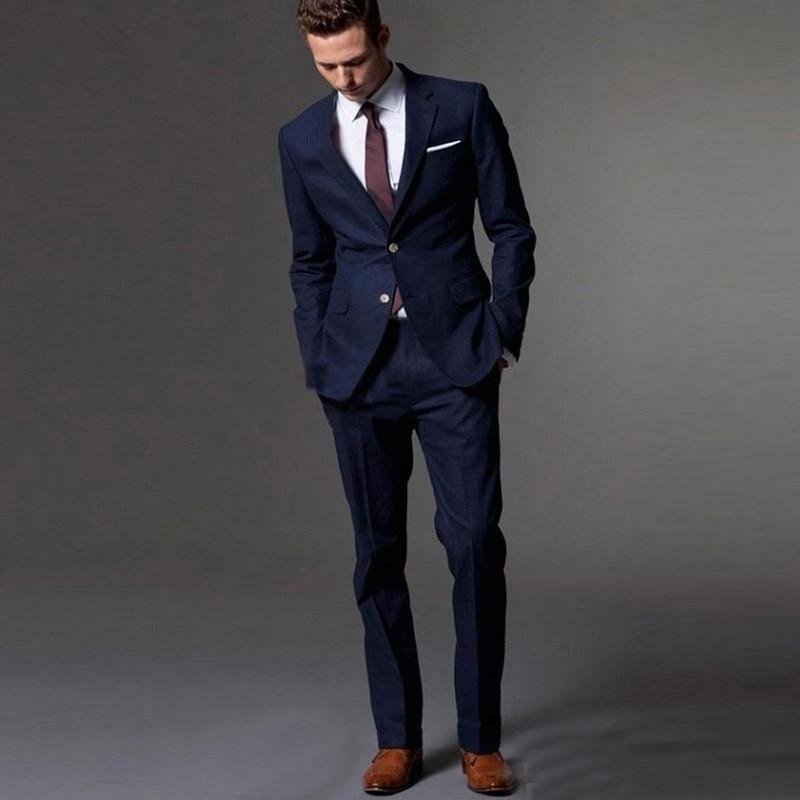 Handsome Two Buttons Groomsmen Notch Lapel Groom Tuxedos  Men Suits Wedding/Prom/Dinner Best Blazer(Jacket+Pants+Tie) 038