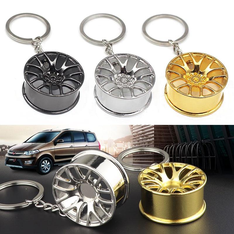 Auto Turbo Hub Keychain Wheel Rim Car Keyring Luxury Zinc Alloy Key Fob Wheel Tire Styling Car Key Chain Keyring Car Key Holder