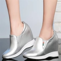 fashion sneakers women slip on genuine leather high heel ankle boots female round toe wedges platform pumps shoes casual shoes