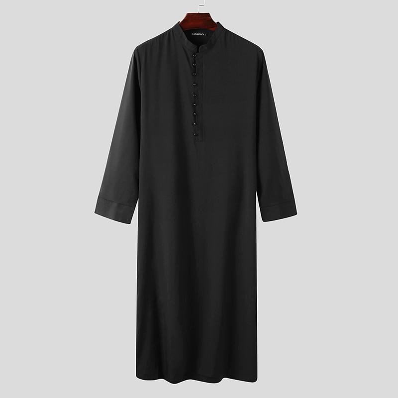 Muslim Men Jubba Thobe Long Sleeve Solid Color Breathable Robes 2021 Stand Collar Islamic Arabic Kaftan Men Abaya