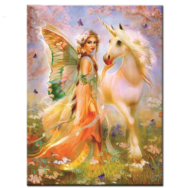 "100% completa 5d diy daimond pintura ""elf & unicorn"" 3d diamante pintura redonda strass diamante pintura bordado animais"