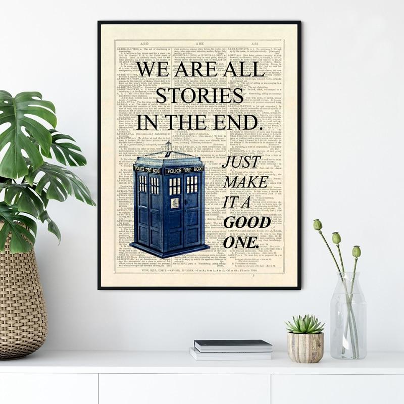 Dr Who-affiche de série télévisée classique   Imprimés de Tardis We Are story, de la fin en dictionnaire Page Art, toile, peinture, image décor pour la maison