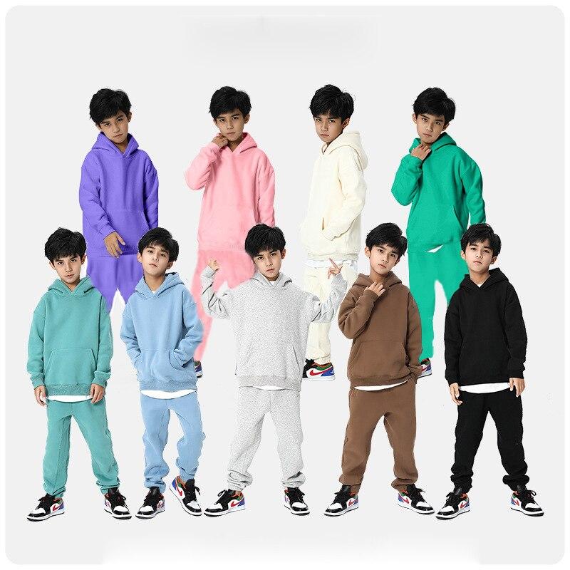 ملابس رياضية شتوية للأطفال 2021 أزياء للأولاد من الصوف السميك ملابس أطفال مزودة بغطاء للرأس ملابس رياضية للبنات 12 13 سنة
