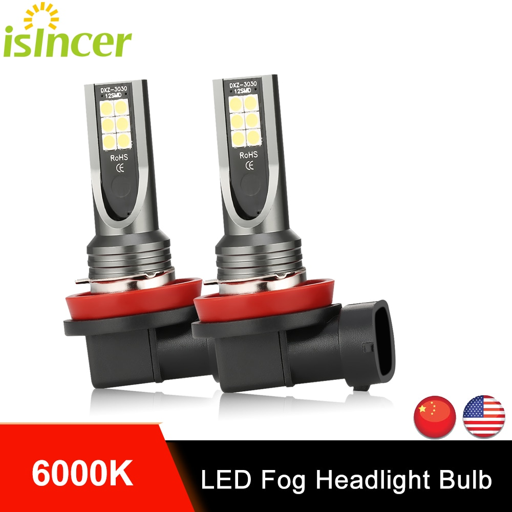 2Pcs iSincer H11 Led Car CSP LED Fog Headlight Bulbs H8 H9 H11 Led Auto Fog Lamp Day Running Light Headlamp 6000K White