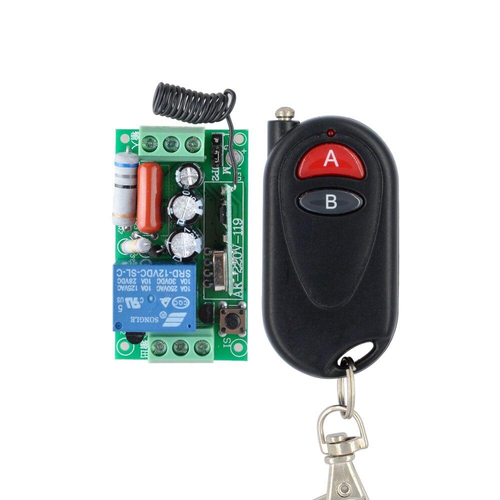 Control remoto inalámbrico interruptor de luz 10A relé de salida Radio AC 220V 1 canal receptor Módulo 2 botones transmisor 10 Uds
