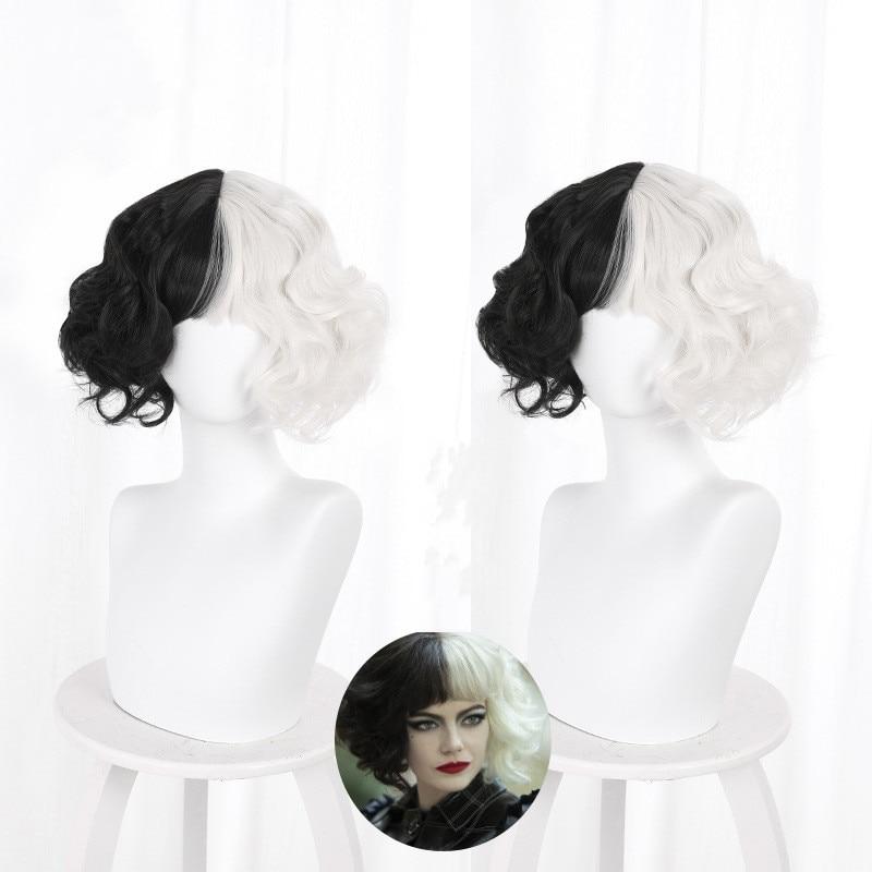 Cruella De Vil Kuila Half Black Half A Hundred Small Short Curly Cos Wig Wig Caps for Making Wigs  Danganronpa
