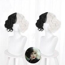 Cruella De Vil Kuila Half Black Half A Hundred Small Short Curly Cos Wig Wig Caps for Making Wigs  D