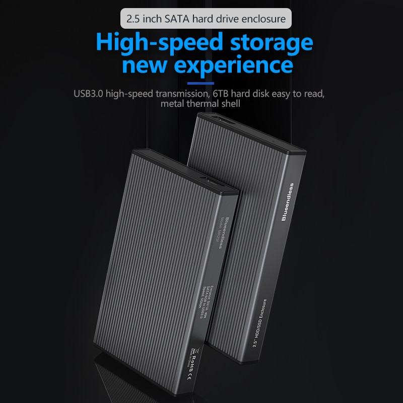 Blueendless HDD Case Sata to USB 3.0 5Gbps High Speed Aluminum HDD Box Cases for PC Accessories Lapt
