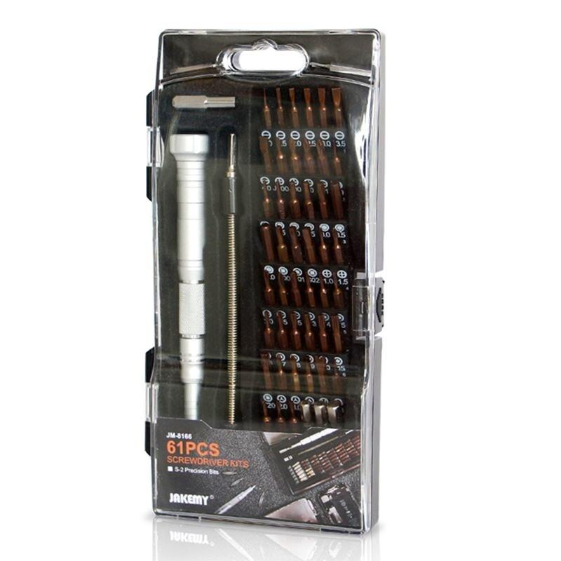 Kits de destornilladores ABZB-JAKEMY JM-8166 61 en 1, Kit de herramientas manuales de reparación para teléfono móvil, modelo electrónico, S-2 de reparación DIY