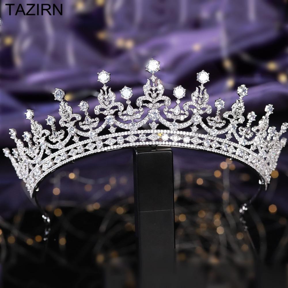Tiaras de novia de Zirconia cúbica, circonita, Familia Real Británica, princesa Kate Middleton, coronas de concursos de estilo Queen