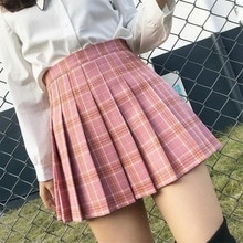 XS-3XL Plaid Summer Women Skirt 2021 High Waist Stitching Student Pleated Skirts Women Cute Sweet Gi