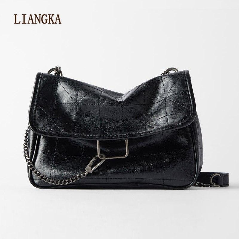 2020 New Rhombus Black Rock Soft Single Shoulder Oblique Span Chain Bag Luxury Handbags for Woman PU Leather Messenger Bag