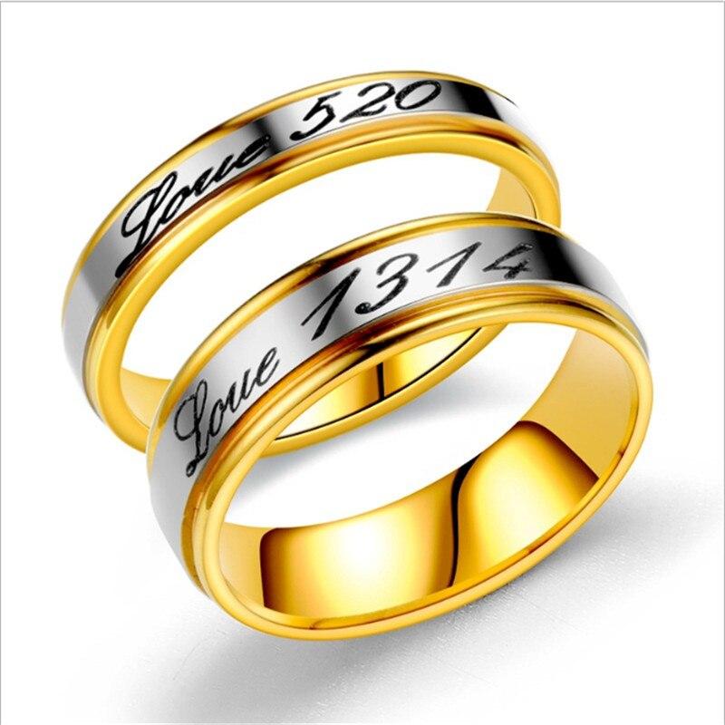 Moda mujer 520 hombres 1314 letras creativo pareja anillo fiesta compromiso boda cumpleaños regalo joyería al por mayor