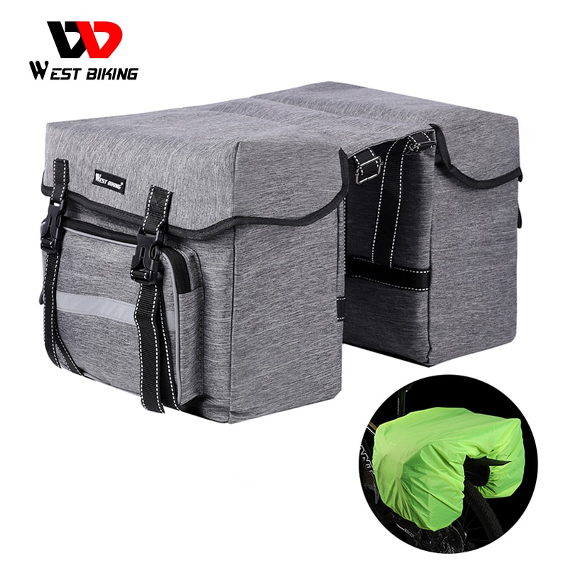WEST BIKING Bicycle Rear Bag 25L Bike Rear Seat Trunk Bag Pannier Bag Luggage Carrier Outdoor Rain Cover Fietstassen Cycling Bag