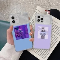 sad emotion girl illustration phone case transparent for iphone 7 8 11 12 x xs xr mini pro max plus slide camera lens protect
