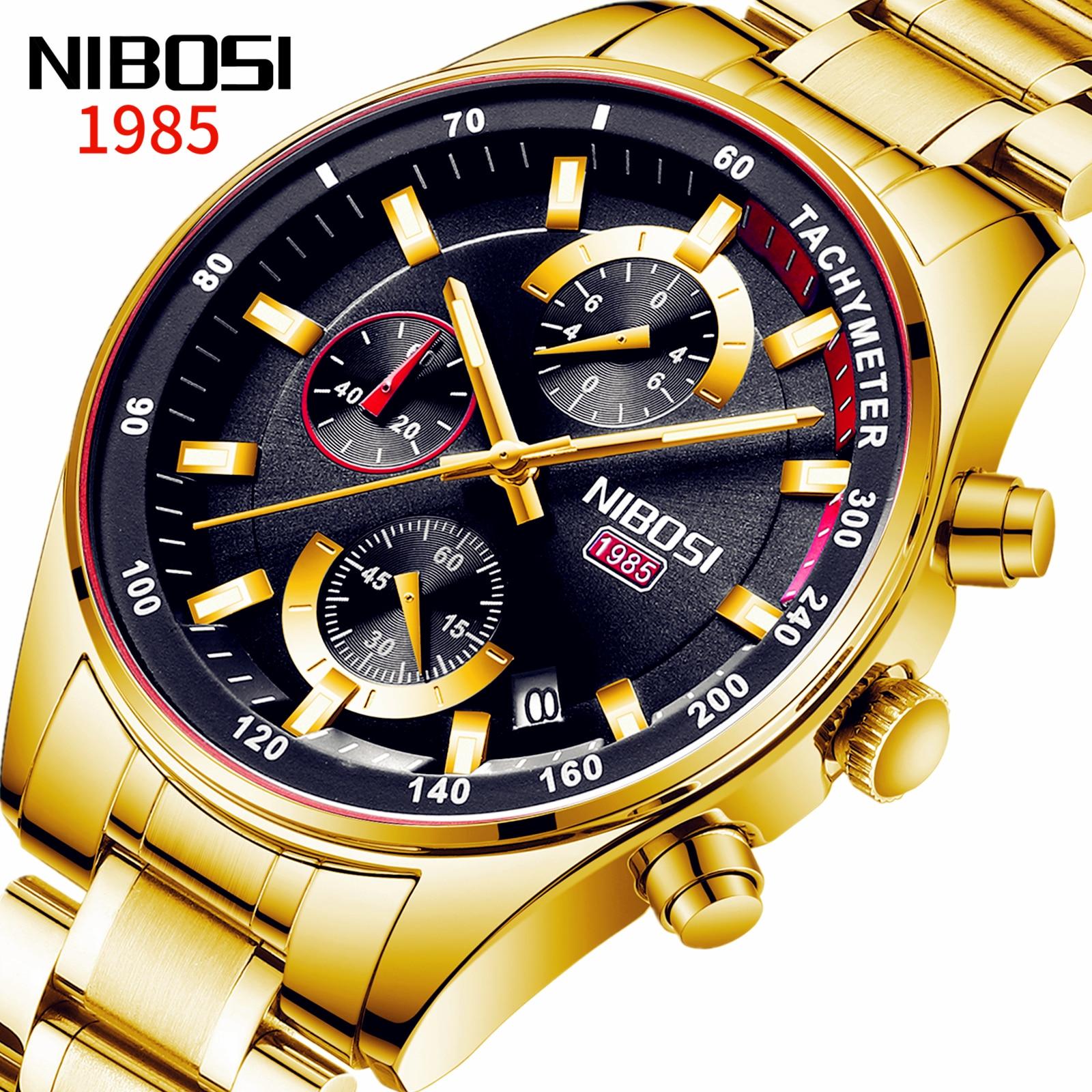 NIBOSI Fashion Mens Watches Top Brand Luxury Wrist Watch Quartz Clock Gold Men Chronograph Waterproof Relogio Masculino