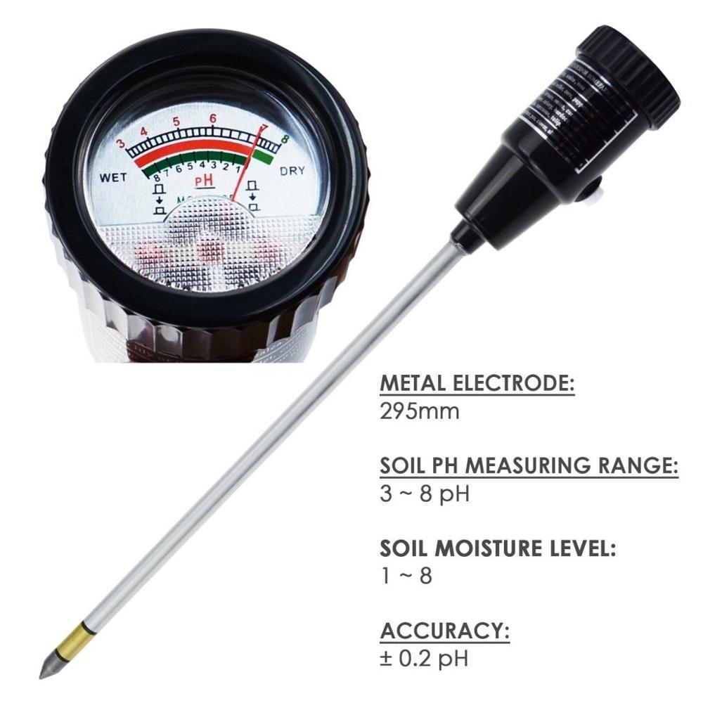 ZD-06 pH التربة و الرطوبة متر فاحص مع 295 مللي متر طويلة القطب التحقيق للماء التربة اختبار عدة أدوات ل داخلي و خارجي