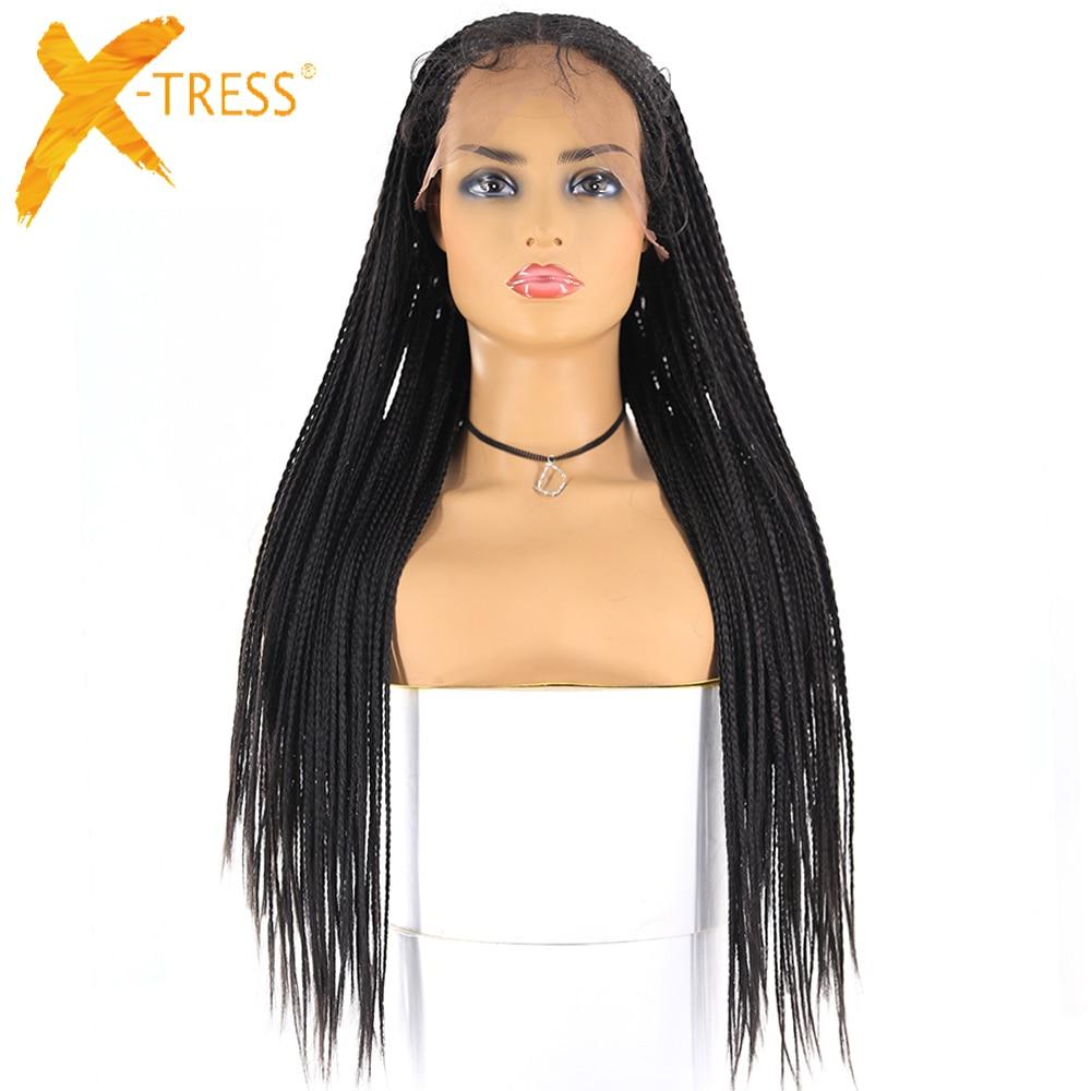 Pelucas trenzadas sintéticas frontales de encaje 13x6 X-TRESS caja larga trenzas de cornura postizos de imitación Peluca de estilo africano americano para mujer