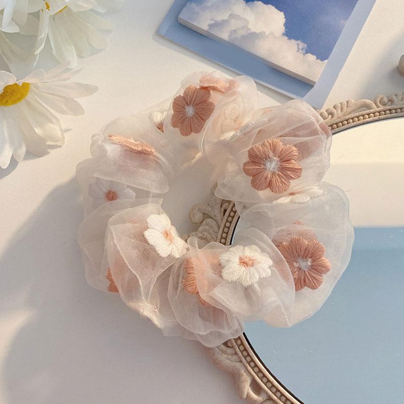 Симпатичні вишиті квіти сітчасті прикраси для жінок, романтична мотузка для волосся рожевого та блакитного кольору, прозорі краватки з тюлю на органзі