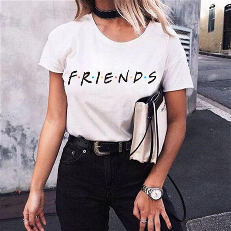 Camiseta de manga larga con letras Friends de verano y otoño para mujer, camiseta divertida e informal para mujer, camiseta para chicas, ropa funky nueva
