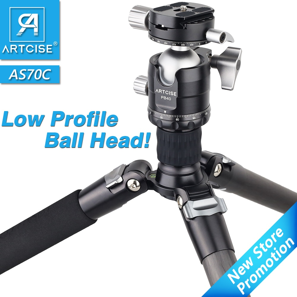 AS70C Professional Carbon Fiber Tripod for DSLR Camera with Low Profile Ball Head Monopod 10 Layers Tube Short Center Column
