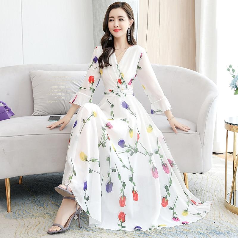 2021 summer French floral dress chiffon elegant temperament V-neck trumpet sleeve waist slim beach dress ribbon tape detail trumpet sleeve smock dress