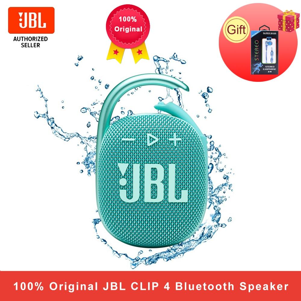 JBL كليب 4 سماعة لاسلكية تعمل بالبلوتوث 5.1 سماعات صغيرة Clip4 المحمولة IP67 مقاوم للماء في الهواء الطلق باس مكبرات الصوت مع هوك 10 ساعة البطارية