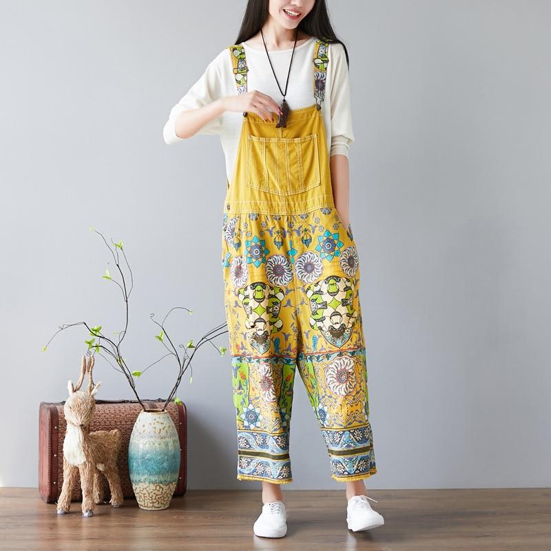 Autumn Vintage Plus Size Casual Women Wide Leg Jumpsuit with Pockets Belt Trousers Loose Flower Printed Crotch Jeans Jumpsuit plus button front striped wide leg cami jumpsuit