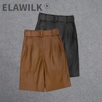 2021 autumn winter chic womens high quality sheepskin real leather belt short pants c156