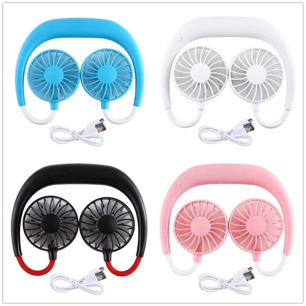 Портативный вентилятор без рук, шейный ремешок, подвесной USB Перезаряжаемый двойной вентилятор, мини-кондиционер/охлаждающий вентилятор для комнаты