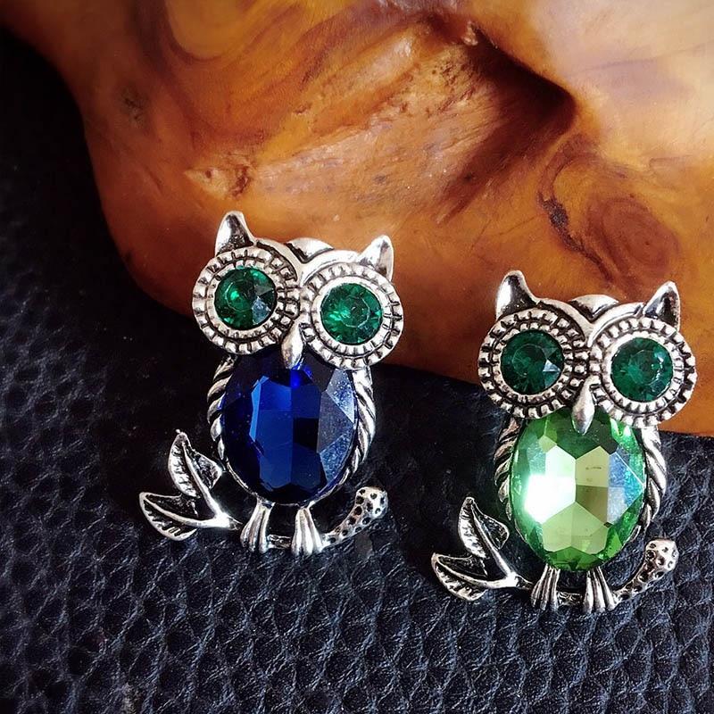 Fashion Delicate Owl Brooches Korean Trendy Zinc Alloy Imitation Rhinestone Blue Brooch Badge Pin Fe