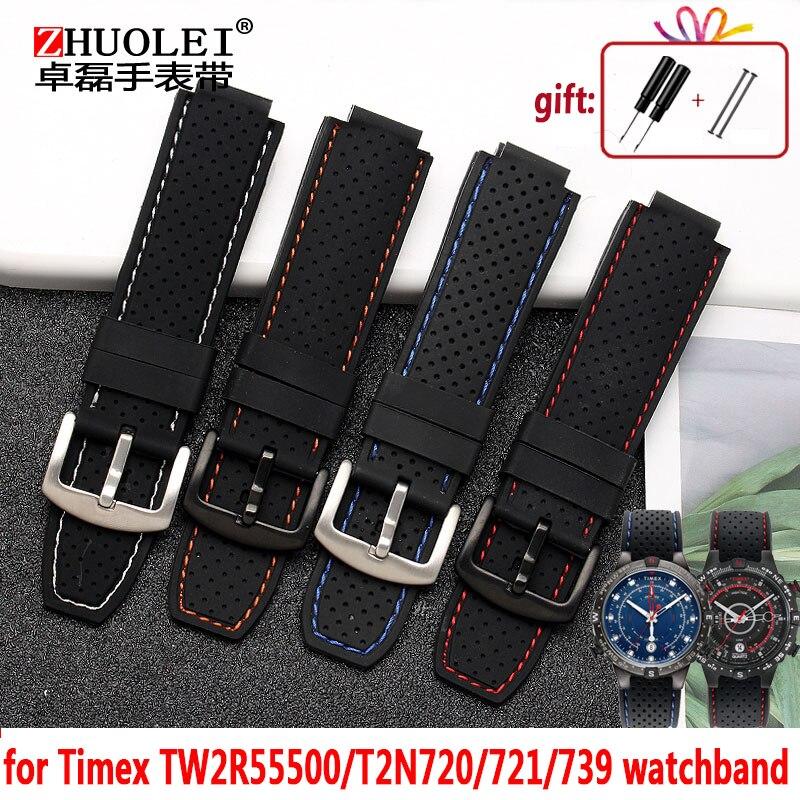 Pour hommes Timex T49859   T2N720   T2p141   T2n722   723   738   739 bracelet de montre étanche bracelet en caoutchouc 24*16mm extrémité de cosse avec outils broches de vis