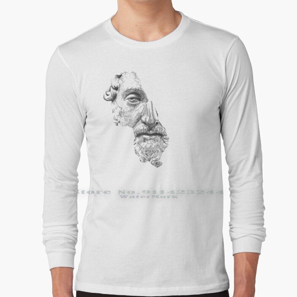 Marcus Aurelius Antoninus Augustus / Black And White Long Sleeve T Shirt Tee Portrait Face Sketch Ink Pen Lines Marcus