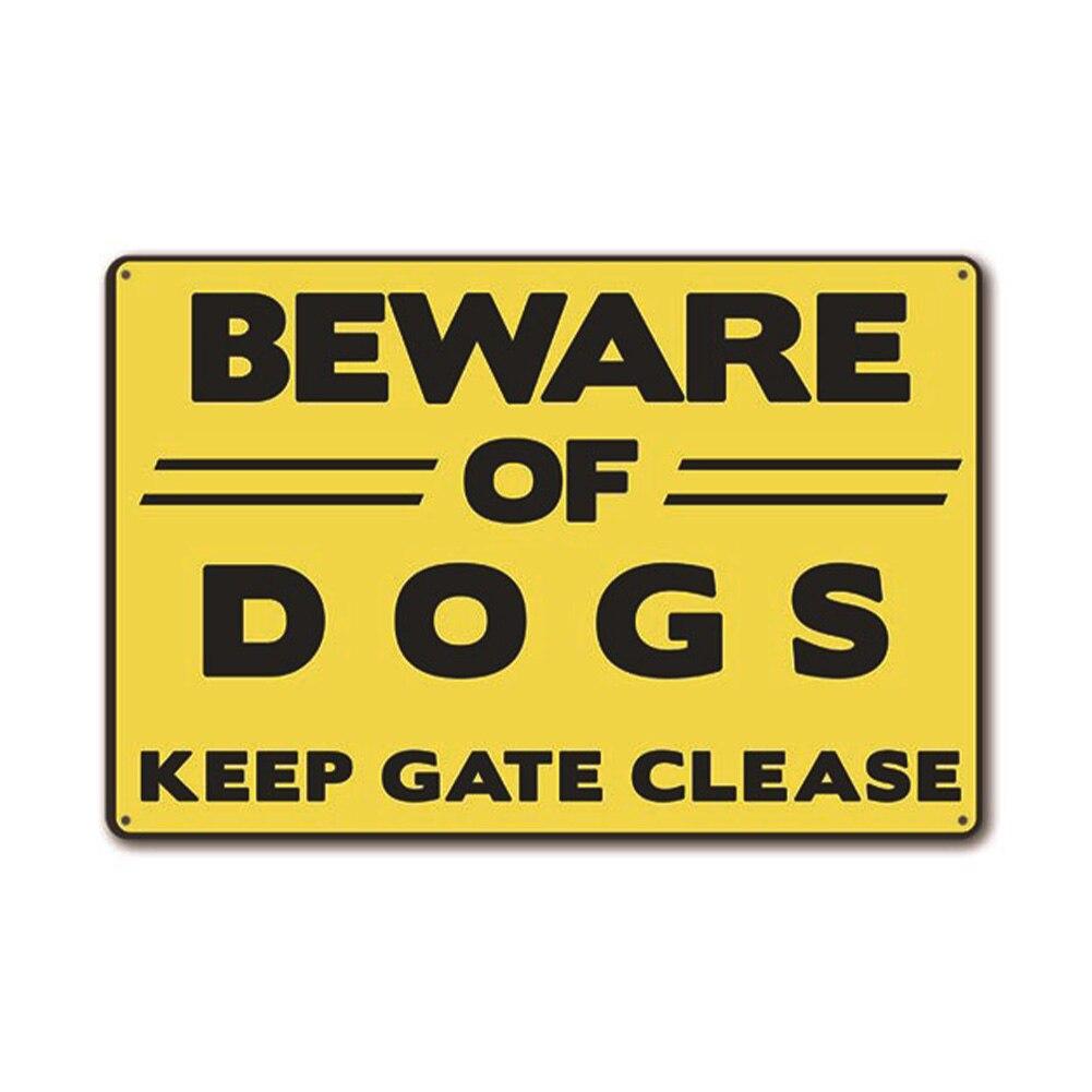 Decoración de pared de Metal impresa Bar Beware Pub Caution Home Craft atención perro señal de advertencia etiqueta engomada de seguridad placa decorativa Vintage
