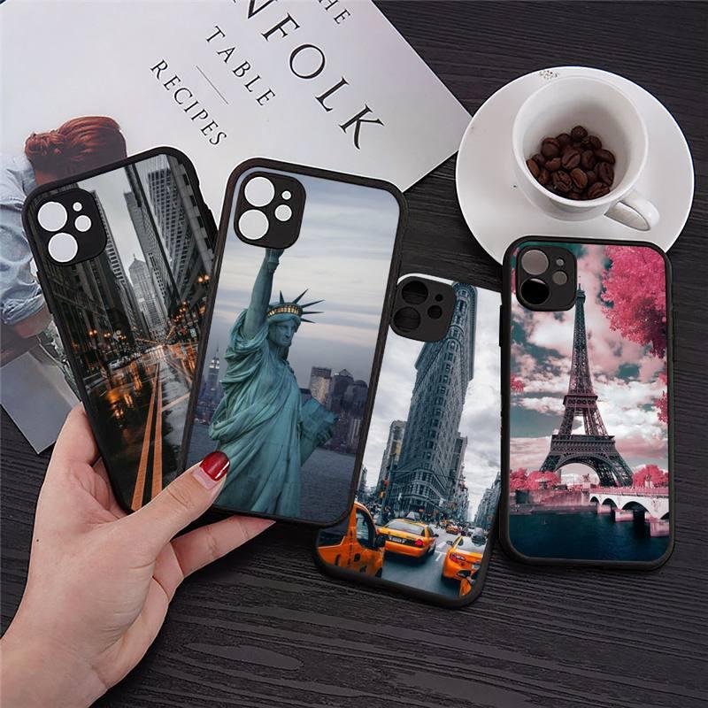 Funda de teléfono a la moda de Londres, París, Nueva york, transparente,...
