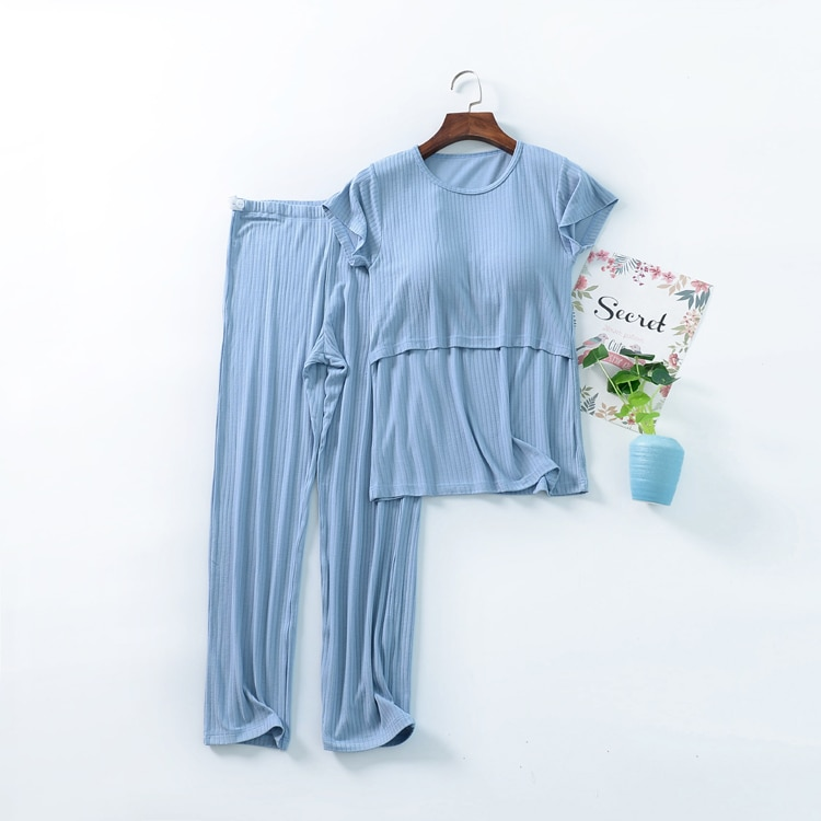 Fdfklak M-3XL Maternity Nursing Set 2pcs/set Pregnant Women's Sleepwear Modal Breastfeeding Pajamas Set For Pregnant Women enlarge