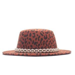 Women's Wide Brim Fedora Wool Flat Top Hat Church Derby Leopard Belt Cap Pearl Ribbon Panama Hats Trilby Cap