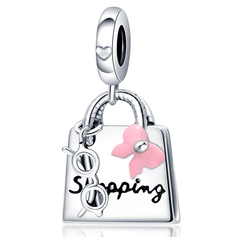 2021 New PLATA Charm Of Ley 925 Silver Bowknot Bag Suitable For Ladies Original Pandora Bracelet DIY