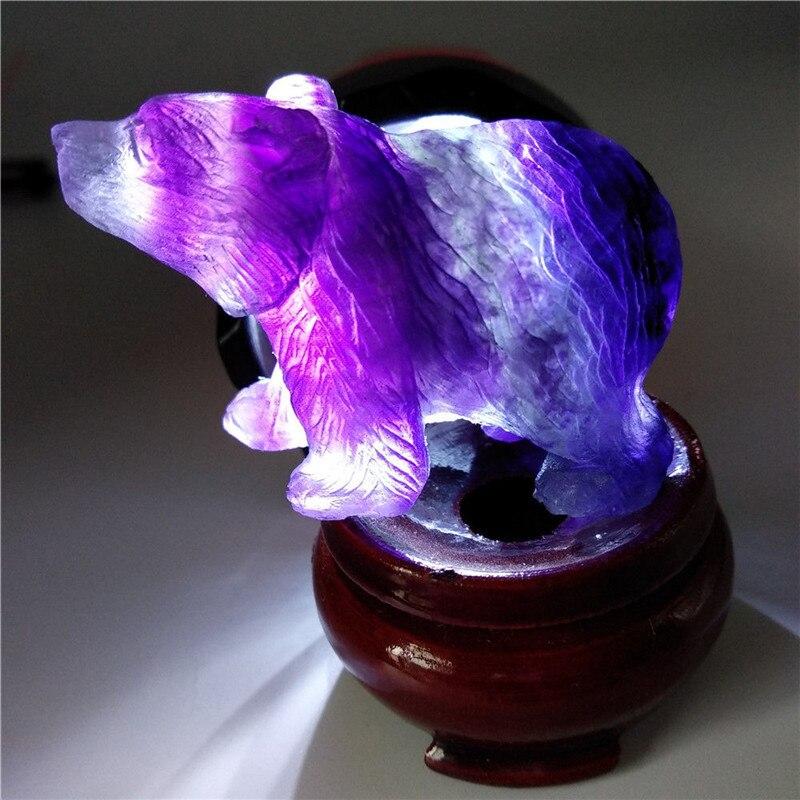 Nova chegada pedras decorativas de quartzo natural arco-íris fluorite urso polar estatueta cristal para feng shui artesanato