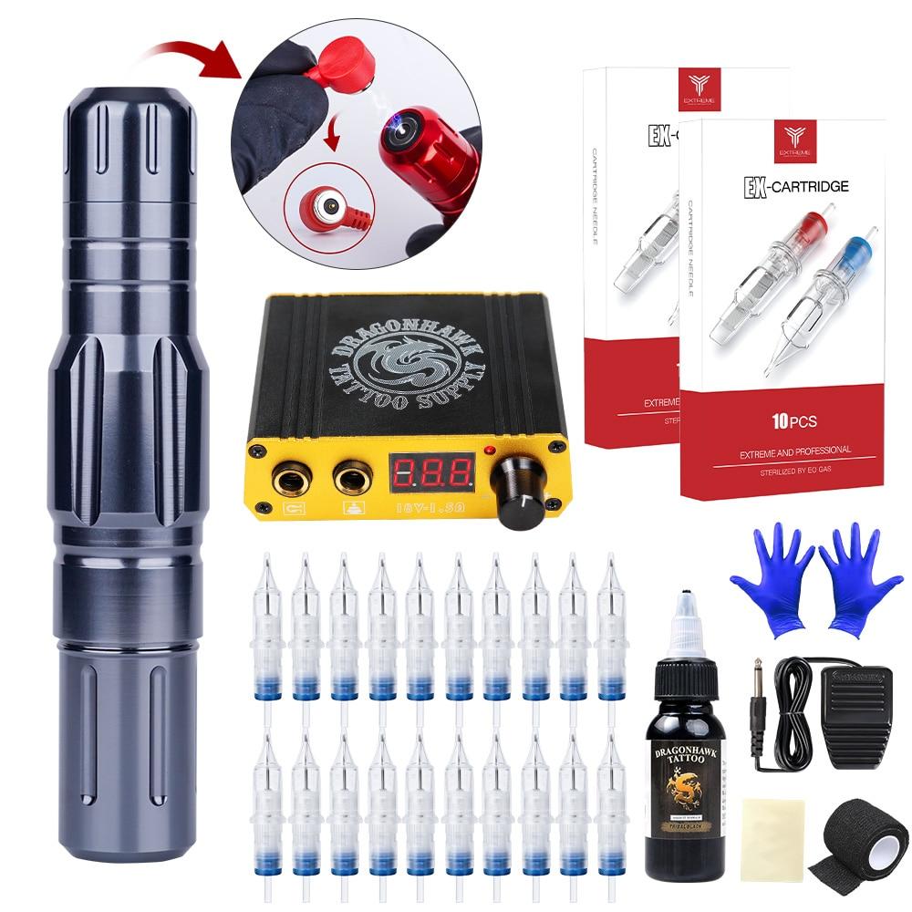 Pluma de tatuaje con atracción magnética Profesional, máquina de tatuaje con LCD, Mini fuente de alimentación, cartucho, agujas, juego de suministro, Kit de maquillaje