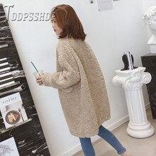 Manteau en fausse fourrure de laine dagneau nouveau manteau épais de dames