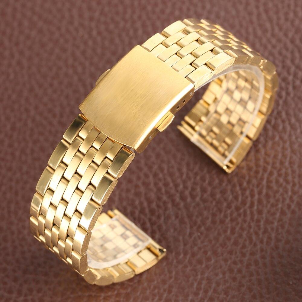 Купить с кэшбэком 18mm 20mm 22mm Watch Band Replacement Luxury Gold Iron Metal Watch Straps Fold Over Clasp Buckle Bracelet for Men Women Watches