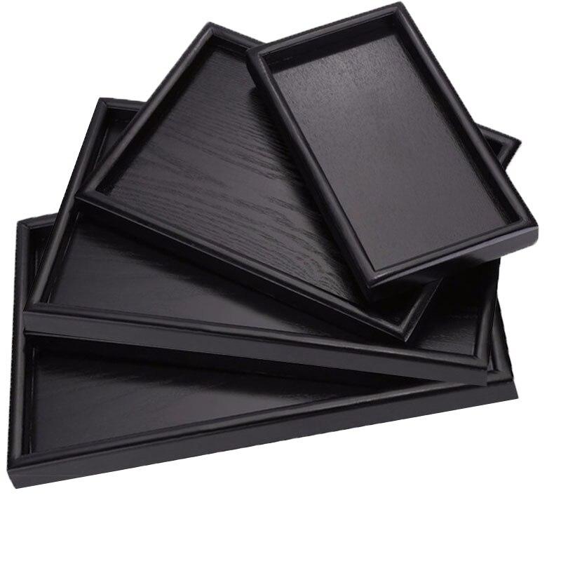 Bandeja negra Rectangular de madera para té, bandeja de madera sólida para Hotel, cena, café, bandeja para servir Bandeja de postres, almacenamiento decorativo