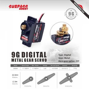 1PCS SURPASS Hobby S0009M 9g Metal Gear 1.9KG Servo for RC Airplane Robot 1:24 RC Car Boat Duct Plane
