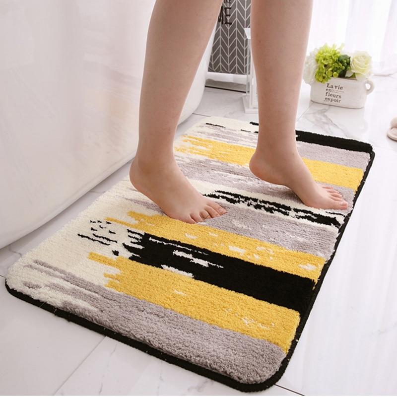 سميكة يتدفقون عدم الانزلاق الحمام حصيرة 2021 الحديثة سجادة باب المطبخ المنزلية أرضية الحمام وسادة ماصة عدم الانزلاق السجاد