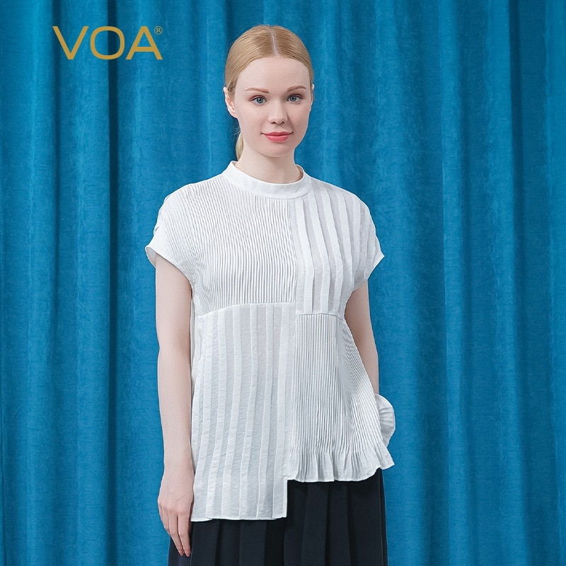 VOA Silk Tees Jacquard Ivory White Round Neck Tops BE625 Shoulder Short Sleeve Asymmetric Fold One Button Straight Loose T-shirt