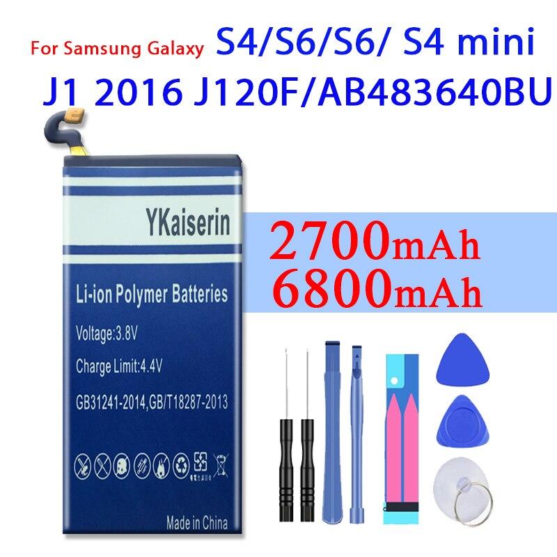 Batería para Samsung Galaxy S4 S5 S6 S4 Mini Galaxy J1 edición 2016 J1 versión J120F exprés 3 J120A J120T J120 Bateria
